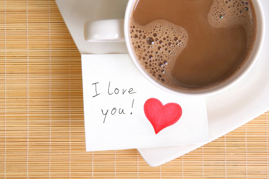Открытка я люблю кофе