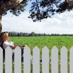 woman under alone tree in field behind fence