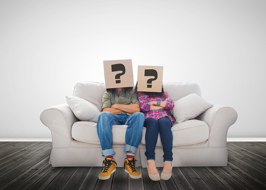 Funny Wearing Bo With Question Mark On Their Head A Couch