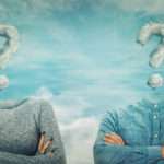 Couple with cloud question marks for heads seeking marriage counseling in Draper Utah